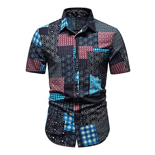 Tpingfe - Camisas hawaianas para hombre, manga corta, estilo vintage, con botones y camisetas gráficas de verano, push-up, XXL, Azul / Patchwork