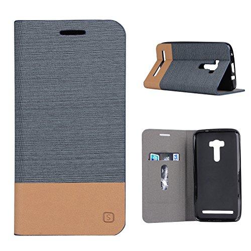 MOONCASE Asus Zenfone Selfie(ZD551KL) Hülle, Slim Tasche Pu Leder Klappetui Bookstyle Schutzhülle für Asus ZenFone Selfie ZD551KL 5.5