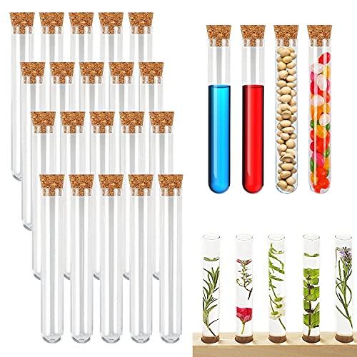 Powmag 20 Stück Reagenzgläser, Reagenzgläser mit Korken Reagenzglas Kunststoff Transparent, Reagenzgläser für Blumen, Badesalzbonbons, Hauptdekoration(150 x Ø16 mm)