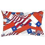 Funda de Almohada Bandera de Chile con la Bandera de América Funda de Almohada Decorativa Funda de cojín Suave y acogedora con cremalle