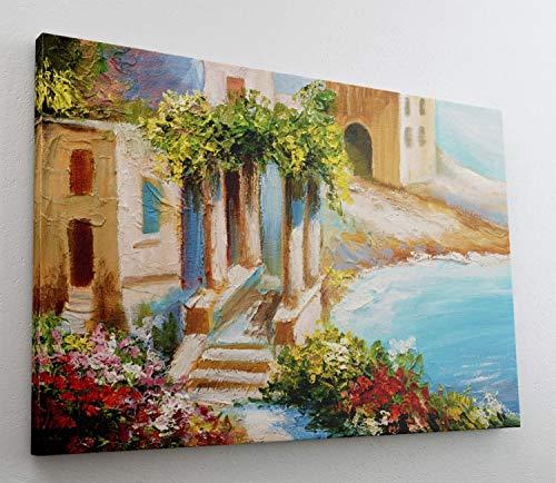 Gemälde Maler Mediteran Acryl Leinwand Canvas Bild Wandbild Kunstdruck L1621 Größe 100 cm x 70 cm