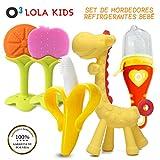 O³ Lola Kids Mordedor Bebes Refrigerante 5 Unidades – Mordedor Fruta Bebe + Cepillo Dientes Bebe + Chupete Fruta - Mordedores Bebes Para Aliviar El Dolor De Encías Y Transformar A Comida Sólida