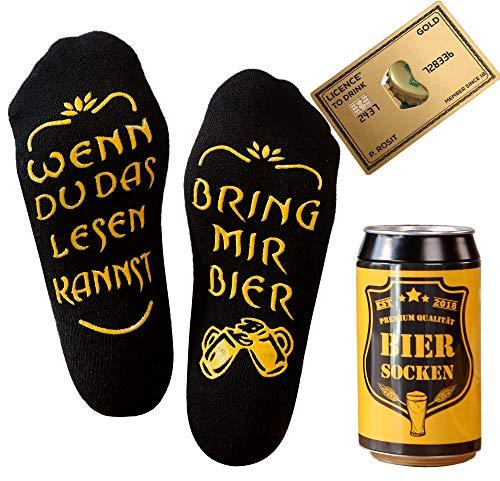 Bier Socken Herren + Flaschenöffner aus Edelstahl, Bier Geschenke für Herren, Geburtstagsgeschenk für Männer, Wenn Du das Lesen Kannst bring mir Bier (Schwarz Biersocken + Kreditkartenöffner Gold)
