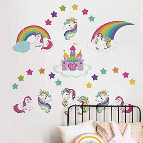 Runtoo - Adhesivo decorativo para pared, diseño de unicornio con castillo arcoíris