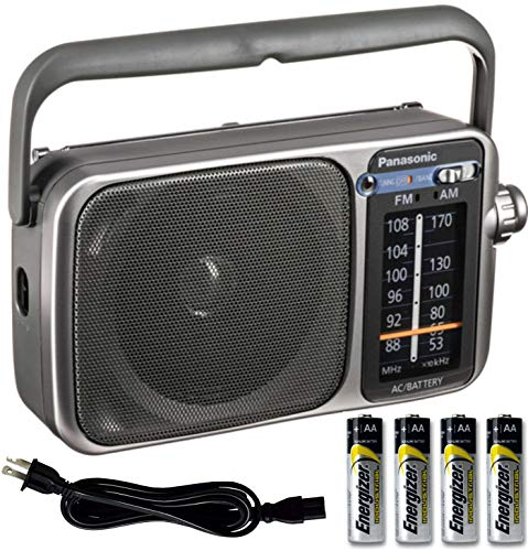 Panasonic Portable AM FM Radio with Best Reception, Led Tuning Indicator, Compact Size + 4 AA Batteries