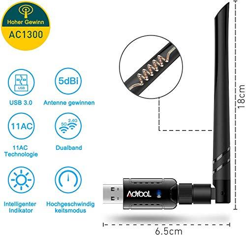 Aoyool WLAN Stick,WLAN Adapter AC1300 (5.8G/867Mbps+2.4G/400Mbps), USB Stick 3.0 mit High-Gain Antennen für Windows 10/8.1/8/7/XP, Mac OS