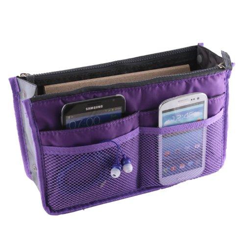 Tapp C. Multi-pocket Nylon Purse Insert Organizer - Purple