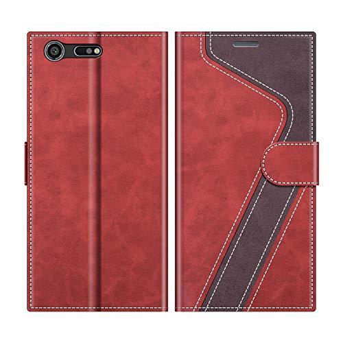 MOBESV Handyhülle für Sony Xperia XZ Premium Hülle Leder, Sony Xperia XZ Premium Klapphülle Handytasche Hülle für Sony Xperia XZ Premium Handy Hüllen, Modisch Rot