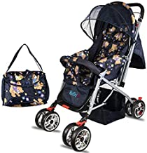 BabyGo Delight Reversible Teddy Bear Baby Stroller and Pram with Mosquito Net Mama Diaper Bag and Wheel Breaks