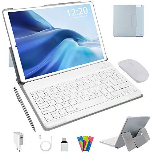 Tablette Tactile 10 Pouces 4G LTE, Android 10.0 64Go, 4Go de RAM Tablette PC 1,6 GHz   Double Caméra 5+8MP   WiFi   Bluetooth   GPS   Type-c   MicroSD 4-128 Go, avec Clavier et Souris (Argent)