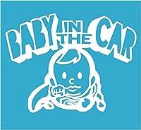 Baby in the car ベービーインザカー 子供が乗ってますステッカー Super Boy (ホワイト)