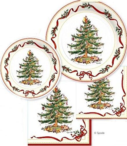 spx72i Serves 16! Spode Christmas Tree Paper Plates & Napkins, 72 Pcs