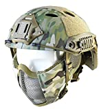 Tactical Foldable Half Face Airsoft Mesh Mask with Ear Protection and Tactical Airsoft Fast Helmet Adjustable H-Nape Helmet Chin Strap Large Size for Older Teenager or Adult (CAMO)