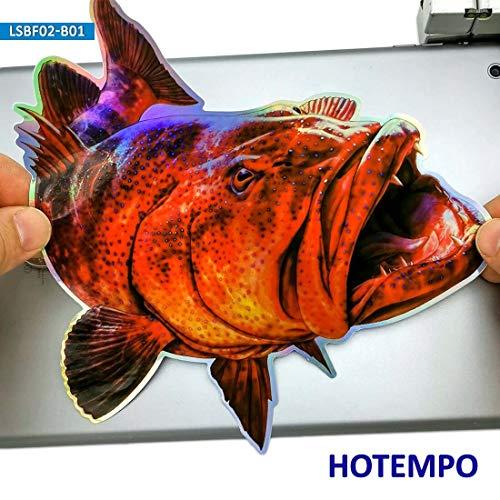 20cm 7,87 Zoll Fisch Bright Laser Dazzling Aufkleber für Koffer Laptop Box Boot Auto Angeln Kunst Red Grouper Big Size Bass Aufkleber