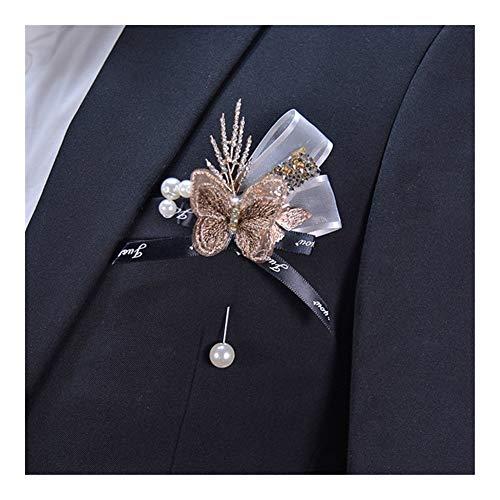 ARTFFEL La Boda Niñas Dama de la muñeca Arco Ramillete Boda Ojal Prom Traje Decoración Mejor Hombre del Novio Pin Broche Ojales DIY (Color : Boutonniere C1)