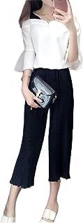 Nicellyer 女性コントラストワイド脚ファッションフリルスリーブパンツとシャツセット