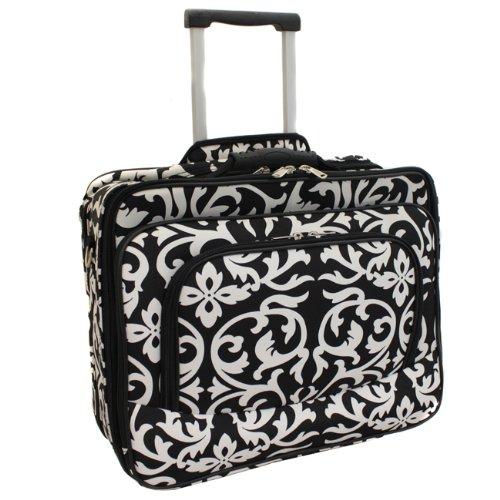"Ladies Damask Rolling Computer Laptop Bag Brief Case -- FITS A 13"", 14"", 15"", 16"" OR 17"" LAPTOP (MEASURED CORNER TO CORNER DIAGONALLY)"