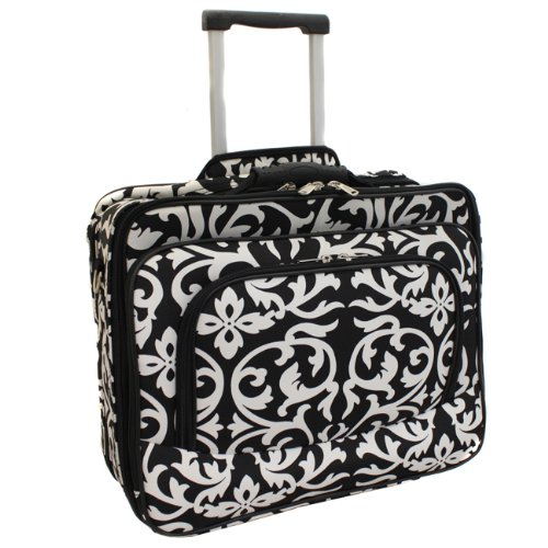 Ladies Damask Rolling Computer Laptop Bag Brief Case -- FITS A 13', 14', 15', 16' OR 17' LAPTOP (MEASURED CORNER TO CORNER DIAGONALLY)