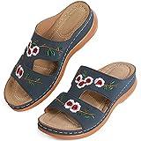 MUYOGRT Sandalias con Plataforma para Mujer Bordadas Mules Cómodos Zapatillas Sandalias de Cuña sin Espalda Verano Antideslizante Ortopédica Vintage Sandalias con Punta Abierta(Azul,38 EU)
