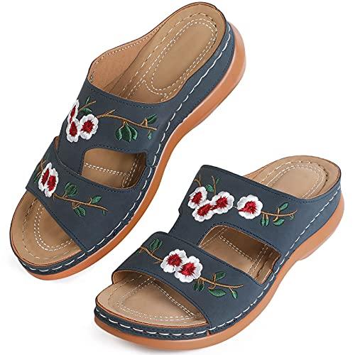 MUYOGRT Sandalias con Plataforma para Mujer Bordadas Mules Cómodos Zapatillas Sandalias de Cuña sin Espalda Verano Antideslizante Ortopédica Vintage Sandalias con Punta Abierta (39 EU, Azul)
