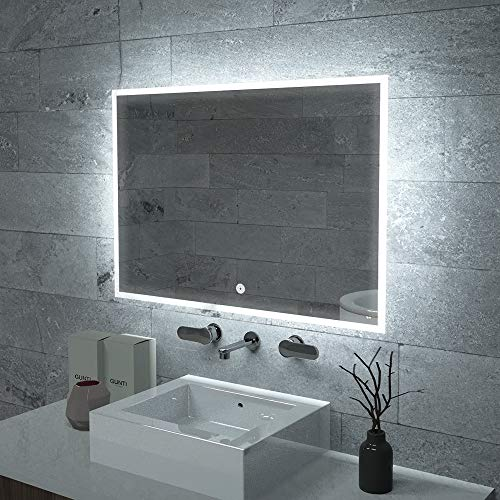 KAASUN 40' x 27' Inch LED Bathroom Wall-Mounted Backlit Vanity Mirror High Lumen Anti-Fog Waterproof Horizontal Installation with Touch Switch