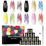 12 Colors Spider Gel, Elastic Drawing Spider Gel with Painting Nail Art Brush, Soak off UV LED Drawing Gel Nail Polish Art Design Gel Paint, Wire Drawing Gel for Line