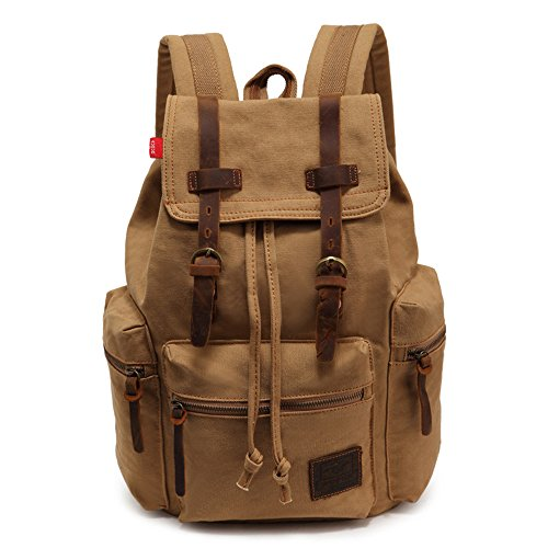 YuHan Canvas Backpack Unisex Vintage Casual Rucksack Laptop Daypacks MacBook Bag Schoolbag Student Bookbag Satchel Hiking Camping Bag Khaki