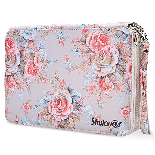 Shulaner 200 Slots Colored Pencil Case with Zipper Closure Large Capacity Oxford Pen Organizer Champagne Rose Pencil Holder for Student or Artist
