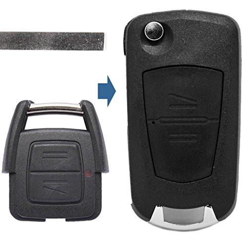 Llave plegable con mando a distancia de 2 botones HU100, compatible con Opel