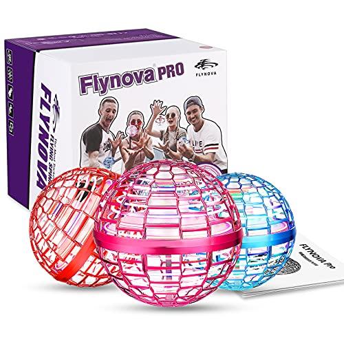 Flynova Pro Flying Orb, Mini Drone Bola Voladora Incorporado RGB LED Spinner 360 ° UFO Giratorio, Mágico Magic Volar Juguetes para Niños Adultos al Aire Libre Interior (Rosado)