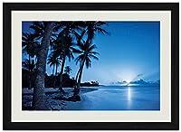 美しいビーチ、ヤシの木 (N012) 自然風景 壁掛け黒色木製フレーム装飾画 絵画 ポスター 壁画(30x40cm)