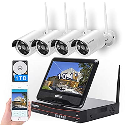 """[8CH, Expandable] All in one with 10.1"""" Monitor Wireless Security Camera System, Cromorc Home Business CCTV Surveillance 8CH 1080P NVR, 4pcs 1080P Indoor Outdoor Night Vision Camera, 1TB Hard Drive"""