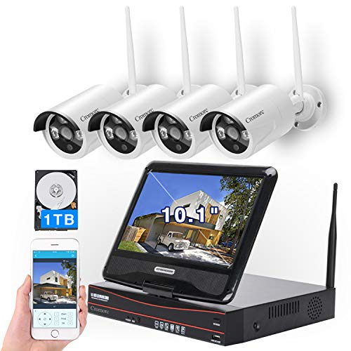 "[8CH, Expandable] All in one with 10.1"" Monitor Wireless Security Camera System, Cromorc Home Business CCTV Surveillance 8CH 1080P NVR, 4pcs 1080P Indoor Outdoor Night Vision Camera, 1TB Hard Drive"