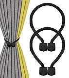 Nimon Magneticas Cuerda Hebillas Cortinas, Alzapaños Cortinas Imán para Clips Decorativos de Familia Oficina de Cuerda (Negro)