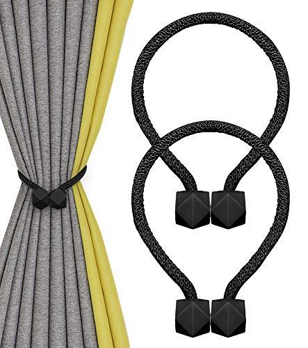 Nimon Magnetische Vorhang Raffhalter, Vorhang-Clips Seil Rückwärtige Halter für Zuhause, Büro Dekoration (Schwarz)