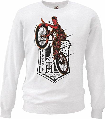Sweatshirt Feel Creep EN SU fietsbanden Motocross Freestyle Chopper Mountainbike in wit