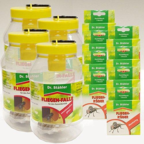 Dr. Stähler Fliegen-Falle - Set-Angebot 4 x Fliegenfalle 8 x Nachfüllpack