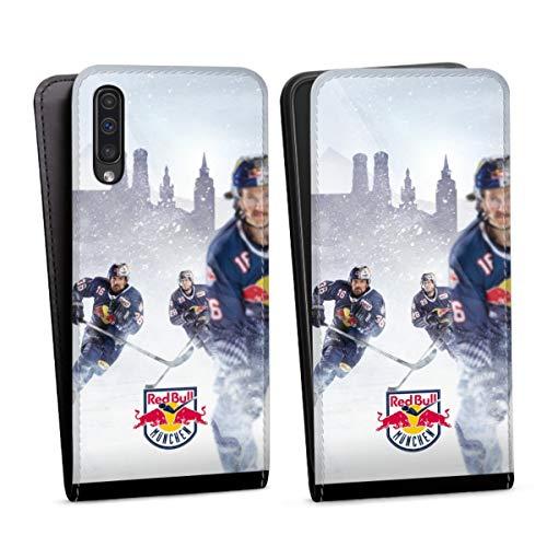 DeinDesign Flip Case kompatibel mit Samsung Galaxy A50 Tasche Schwarz Hülle EHC Red Bull München Offizielles Lizenzprodukt Eishockey