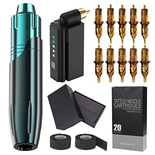 Complete Mini Tattoo Pen Kit, Rotary Tattoo Pen Machine with Wireless Tattoo Power Supply 20Pcs Cartridge Needles Tattoo Grip Tape Tattoo Caps Tattoo Kit Box