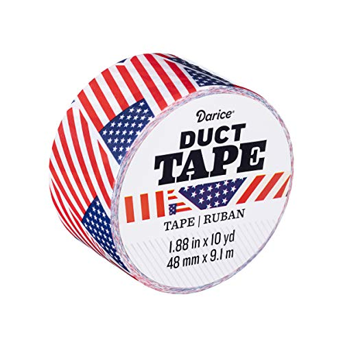 Darice Patterned U.S.A. Flag, 1.88 Inches x 10 Yards Duct Tape, Multicolor