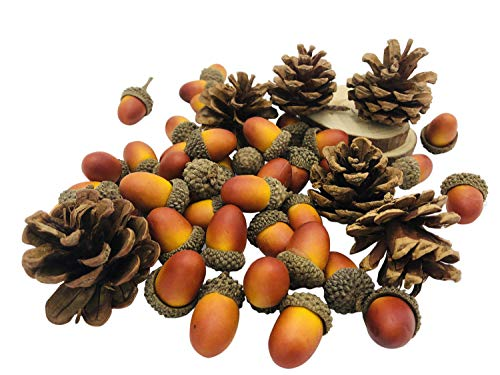 Kubert 160pcs Light Brown Artificial Acorns and Pinecones Set Hanging Ornaments for Autumn Thanksgiving Christmas Décor