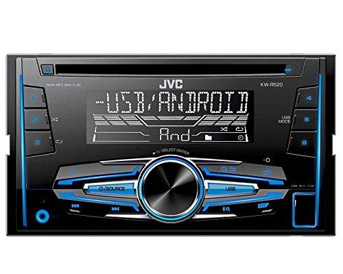 Auto Radio CD Receiver JVC mit USB CD AUX UVM für Mitsubishi Mirage + Space Star ab 2013 incl Einbauset Piano Black