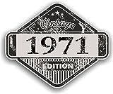 Distressed Envejecido Vintage 1971Edition Classic Retro Vinilo Coche Moto Cafe Racer Casco Adhesivo Insignia 85x 70mm
