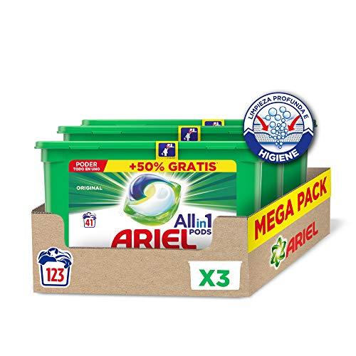 Ariel Pods Allin1 Detergente Lavadora Cápsulas, 123 Lavados (3 x 41), Original