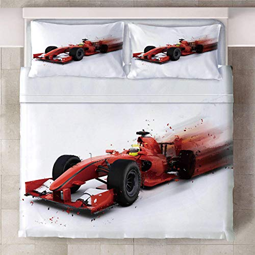 Duvet Cover Set F1 Racing Car Duvet Cover Bedroom Three-Piece Bedding Prevent Moisture Hypoallergenic Single Double King Bed.(1 Pcs Duvet Cover + 2 Pillowcases)200X200Cm
