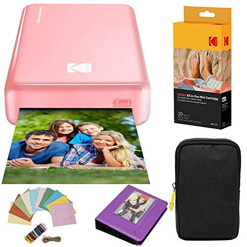 Kodak Mini2 Instant Photo Printer (Pink) Deluxe Bundle + Paper (20 Sheets) + Deluxe Case + Photo Album + Hanging Frames