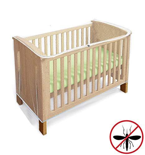 Zanzariera e rete Protect per Lettino, contro gli insetti per culle con cerniera, accesso rapido e facile al tuo bambino, Dimensione universale per la maggior parte dei lettini