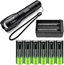 Flashlight and More /& 1-Pack Single Slot Universal Rechargeable Charger High Power Battery 4-Pack 3.7 Volt RCR123A 8000mAh 26650 Flat Top Rechargeable Battery for LED Torch