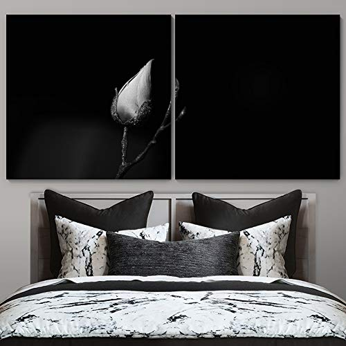 """bestdeal depot High Contrast Flower / Black and White Botanical Chic CloseUp Realism 2 Panel Canvas Wall Art Prints for Living Room,Bedroom Ready to Hang - 24""""x24"""" x 2 Panels"""
