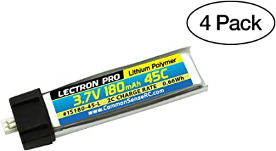 (4 Pack) Lectron Pro 3.7V 180mAh 45C Lipo Battery with Micro Connector for Blade mCX, mCX2, mSR, mSR X, Nano QX, UMX AS3Xtr